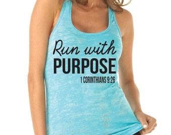 Run With Purpose Tank Top. 1 Corinthians 9:26. Workout Tank. Running Shirt. Running Tank Top. Christian Shirt by WorkItWear