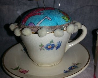 SALE!!  Pincushion in a vintage china cup and saucer-unique-handmade-retro-vintage