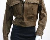 Vintage Dutch replica of British WW2 Dad's Army jacket coat uniform Military Ike Eisenhower cropped