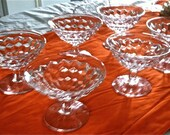 Set of 6 Vintage Fostoria Early American Clear Pattern#2056 flared top low dessert /sherbet dishes