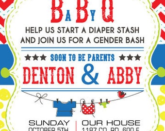 Custom made BBQ BaByQ Baby Shower or gender reveal invitation
