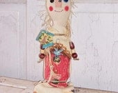 Folk Art Prim Whimsey Summer Raggedy Art Doll Bird House SCOFG  Summer Celebration FosterChild Whimseys