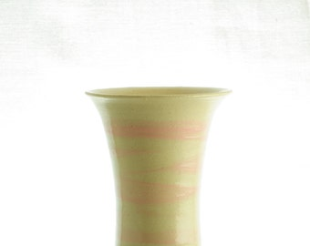 Beautiful small handmade stoneware vase, in beige color white a touch of pink.