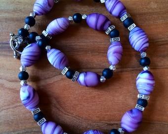Purple and Black Ceramic Bead Necklace