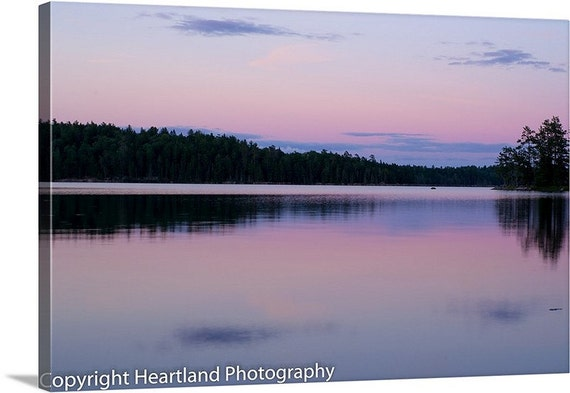 Boundary Waters, Photography Canvas, Gallery Wrap, Sunset Photography, Pink and Purple, BWCA Sunset, Quetico Prints, Northwoods Decor