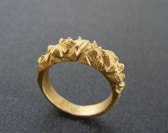 RAW GOLD RING , texture ring , organic ring , rustic gold ring ,  handmade ring