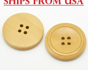 "100 Large Buttons 1 1/4"", 32mm Natural Wood Finish Buttons, Bulk Wood Buttons, Buttons Large Wooden Buttons Wholesale Buttons"