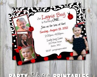 Custom Printable Photo Birthday Invitation -Lady bug- Red and Black