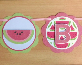 Watermelon Birthday Party Shower Banner Sign Pink Green Picnic Party
