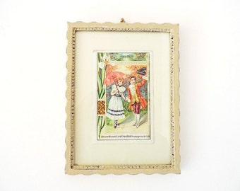 Vintage Shabby Chic Picture with French Chromolithograph