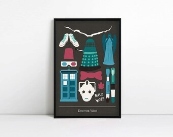 Doctor Who Poster - Minimalist Print - Ninth doctor, tenth doctor, eleventh doctor - Whovian - Geekery