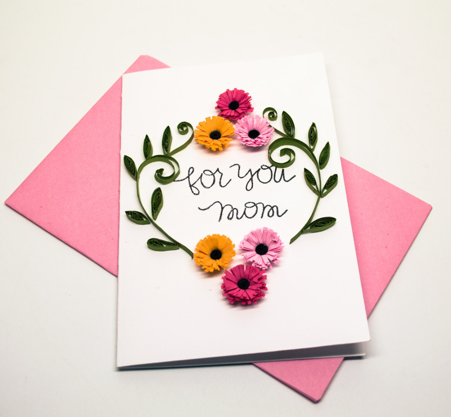 Mothers Day Greeting Card Floral Card for Mom For you Mom – Birthday Greeting Card for Mother