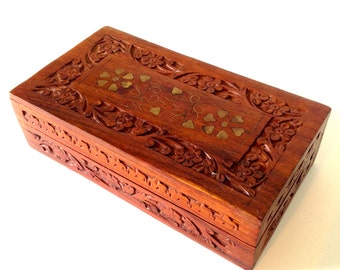 Vintage Carved Wooden Jewelry Box with Brass Inlay