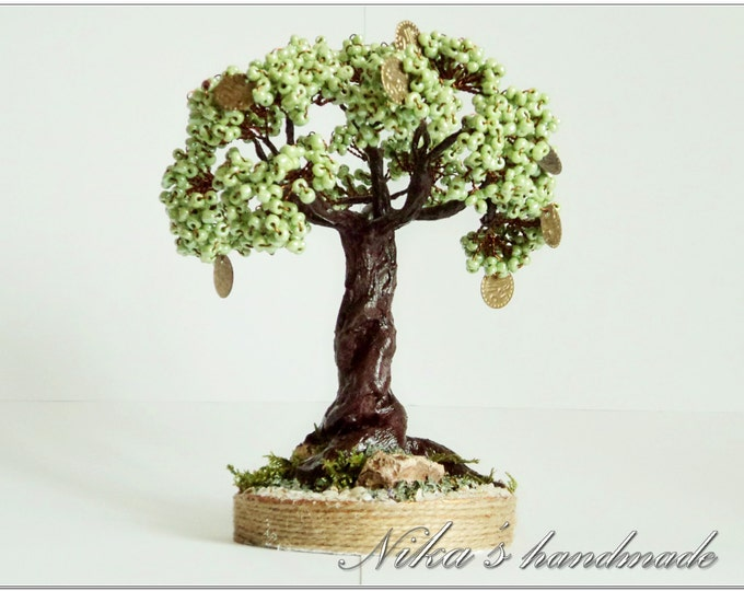 Beaded artificial green Feng shui Tree made of beads, coins and wire