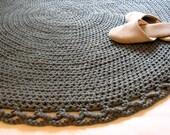 Crochet Rug ,Round Rug, Gray Rug, Handmade Rug, Doily Rug, Cotton Rug, Knitted Rug