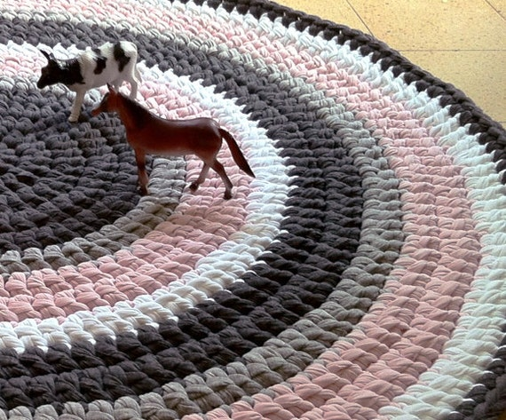 Crochet Round Rug : Crochet Rug ,Round Rug, Pink and Gray Rug, Children Rug, Cotton Rug ...