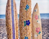 Blue Hibiscus Glass Mosaic Longboard Surfboard 7ft 5in