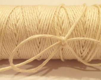 32 yd 7 Ply Linen Thread Smooth NOT-WAXED NATURAL / Off White - Cord  -  .7mm thick