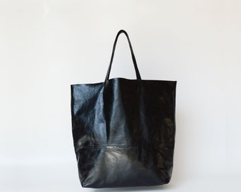 Woman leather bag / black tote bag / large tote bag / leather tote