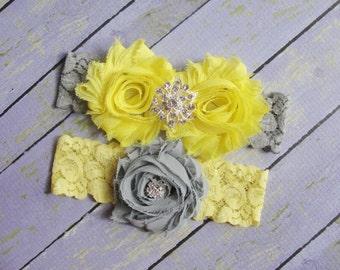 Yellow and Gray Garter, Yellow Garter, Gray Garter, Wedding Garter, Bridal Garter Set, Sunflower Wedding, Custom Garter, Gray Yellow Garter