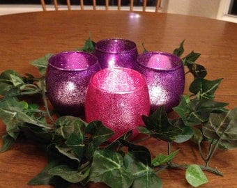 Advent Candle Holders Glass Votives with Pink and Purple Glitter -Mini Hurricane Shape