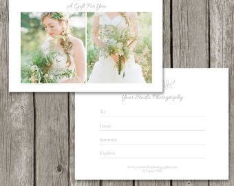 Photography Gift Card Template - Gift Certificate Marketing Template for Photographers - Photoshop Photo Design- GC04