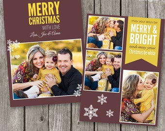 Holiday Card Template for Photographers - Christmas Card Photo Template - 2014 Christmas Template - CC14