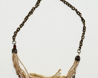 Natural Jute Rope Necklace, Pearl Necklace, Eco-friendly Necklace