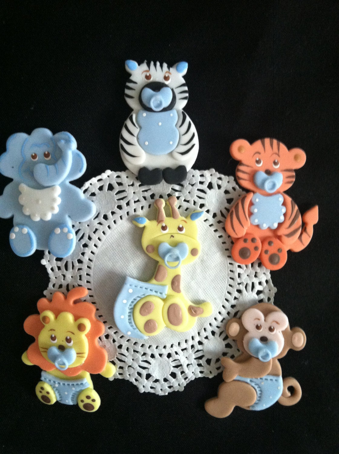 Jungle cake toppers baby shower favor baby by for Baby decoration safari
