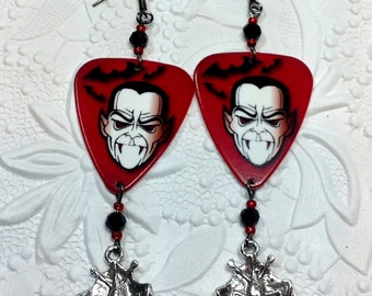 Dracula Earrings Guitar Pick Vampire Bat Crystal Horror Monster Vampire