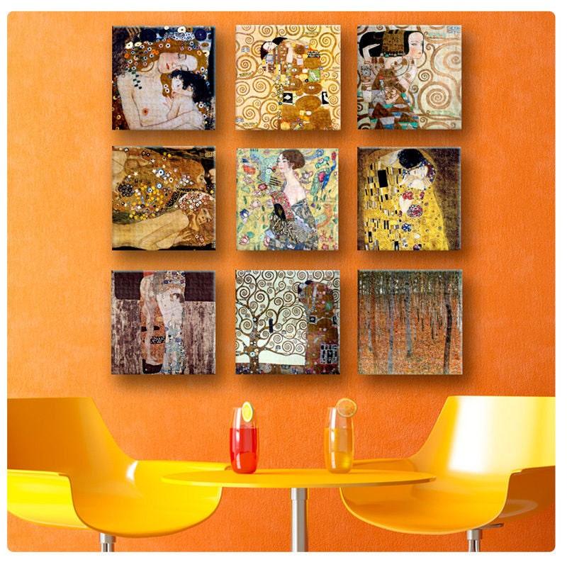 30 off canvas set of 9 print by gustav klimt the by myartcanvas. Black Bedroom Furniture Sets. Home Design Ideas