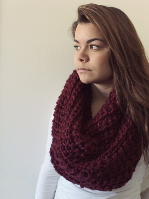 chunky knit infinity scarf maroon by maitamama on etsy