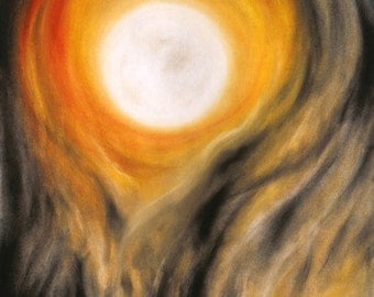Pumpkin orange moon art in black, white, amber - halloween, samhain, smoke & fire metal print of lunar pastel by Hawaii artist Donia Lilly