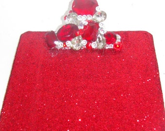 Red Glitter and Rhinestone Clipboard