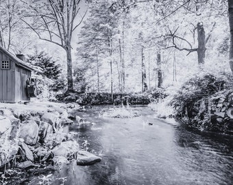 Old Stream and Waterwheel - Black and White - Landscape Photography