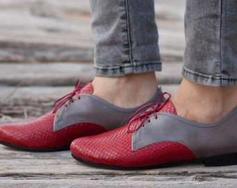 Red Leather Shoes, Red Oxford Shoes, Close Shoes, Flat Shoes, Red Shoes, Red and Grey , Free Shipping