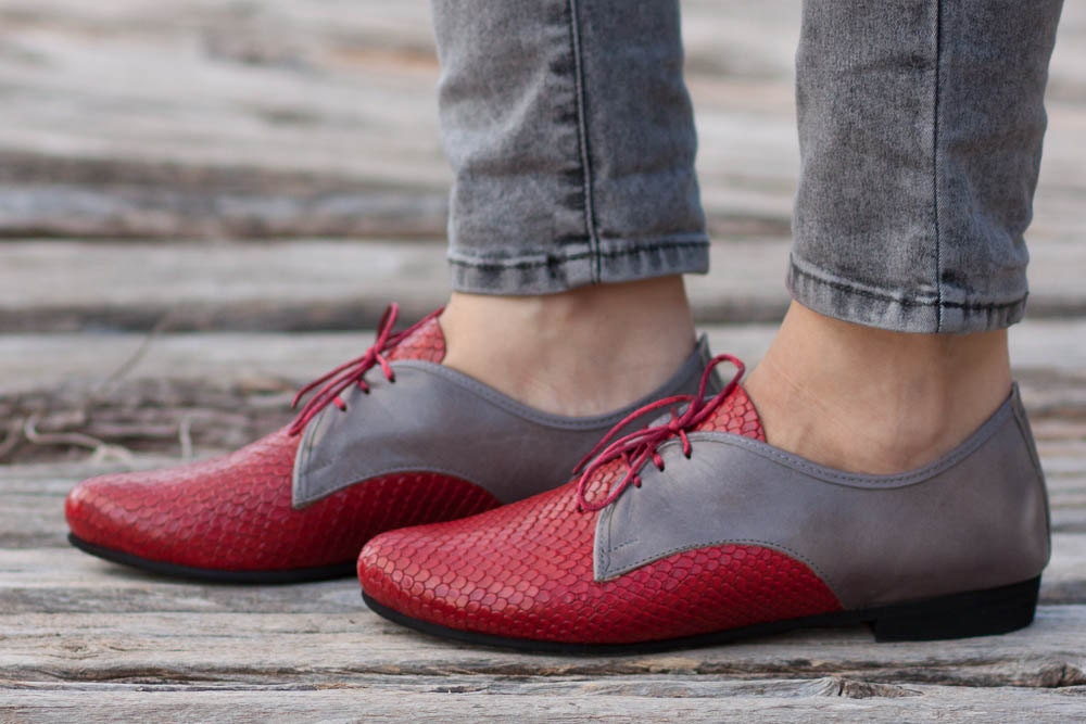 Red Leather Shoes Red Oxford Shoes Close Shoes Flat Shoes