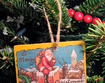 Vintage Christmas Postcard Ornament #011