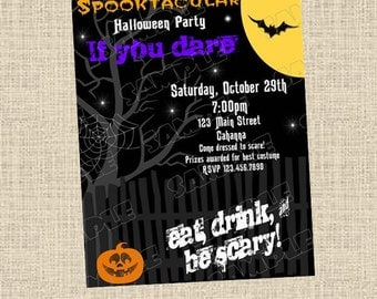 Halloween party costume party invitation any colors UPrint customized card by greenmelonstudios