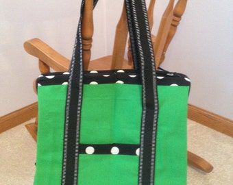 Zipped Canvas Tote Bag