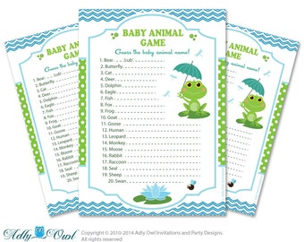 Boy Frog Baby Animal Game, guess Animals Printable Card for Baby Frog  Shower DIY blue green  pool - aa6bs14