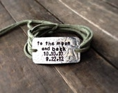 """mother's bracelet, """"to the moon and back"""",mommy jewelry, wrap bracelet, gift for mom, mom bracelet, hand stamped, new mom, mothers day"""