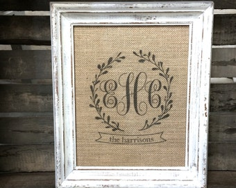 Triple Monogram Burlap Sign or Cotton Art Print - Couple's Initials and Last Name Personalized Wedding Anniversary Gift - Engagement Gift