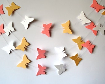 Paper Butterfly GARLAND backdrop - Shabby chic pastel wedding garland - Bridal shower decor - Party garland - Paper mobile - Wedding mobile