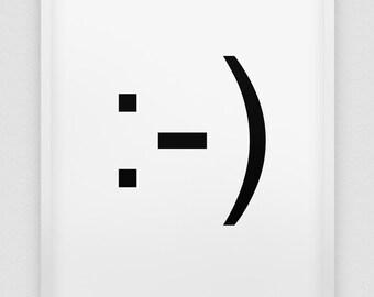 smile print // smiley print // emoticon smile //  black and white home decor print // smiley // :-)
