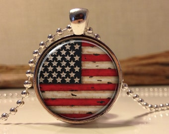 American Flag Necklace, Patriotic American Flag Necklace, American Flag Pendant, Independence Day Jewelry, 4th of July Necklace (flag#1)