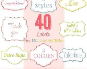 80% OFF SALE 40 Bright Dotted Pink, Blue, Green and Yellow Labels, Digital Labels, Frame Clip Art, Digital Tags