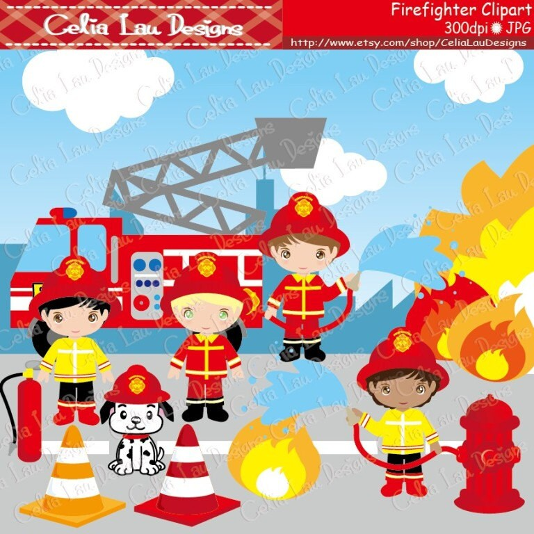 Clip Art Fireman Clip Art firefighter clip art etsy cute clipart fireman cg035 kids and dog fire truck for personal commercial use instant download