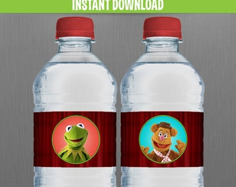 Muppets Birthday Bottle Labels or Napkin Rings - Instant Download and Edit with Adobe Reader