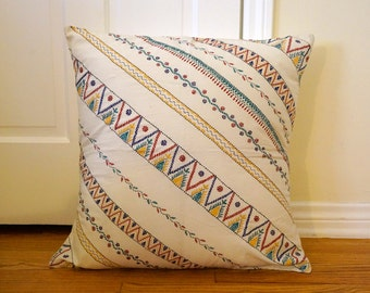 Vintage-Inspired Hand Stitched 24x24 Floor Pillow